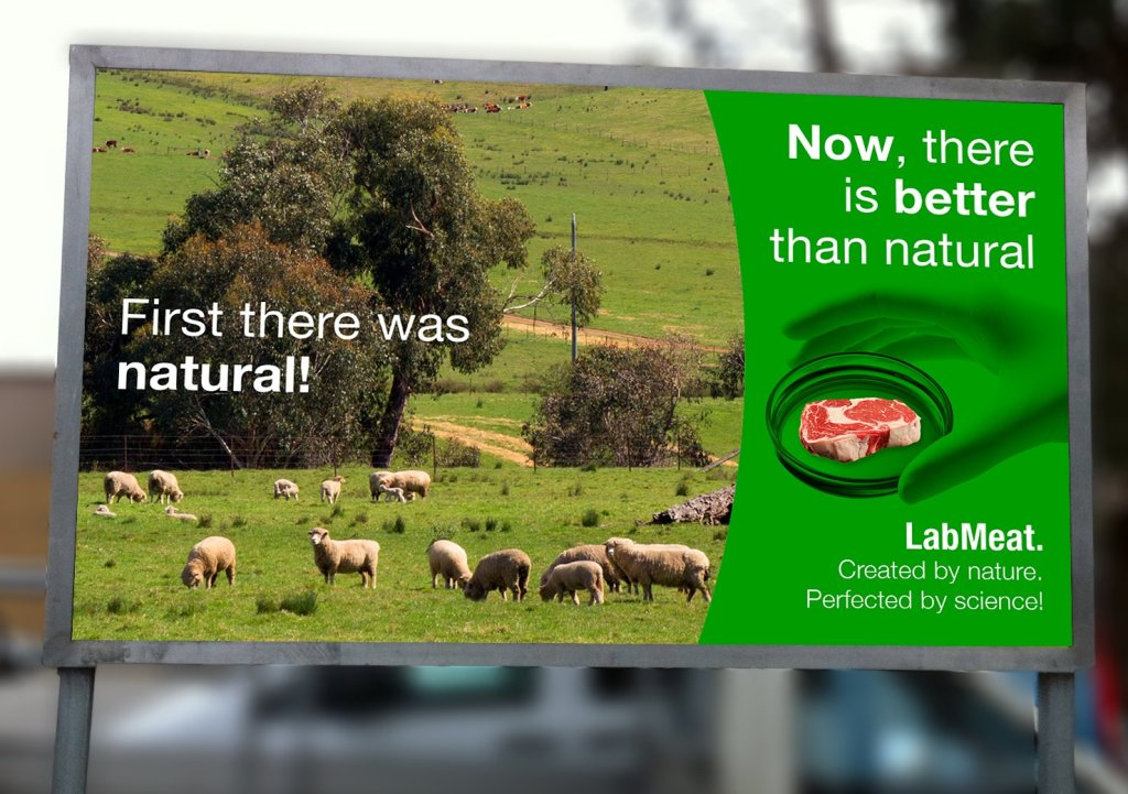 """Billboard with slogan """"First there was natural, now there is better than natural""""."""