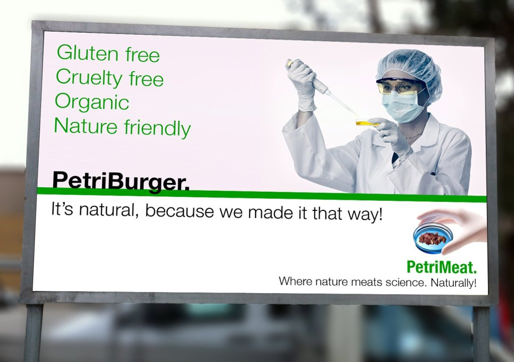 """Billboard with slogan """"Gluten free, cruelty free, organic, nature friendly"""". It's natural, because we made it that way!"""